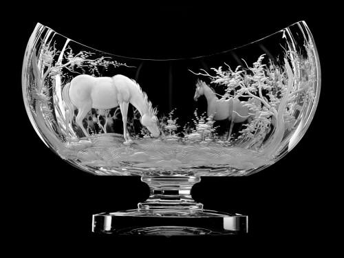 "Oval bowl ""Horses"", 23 cm"