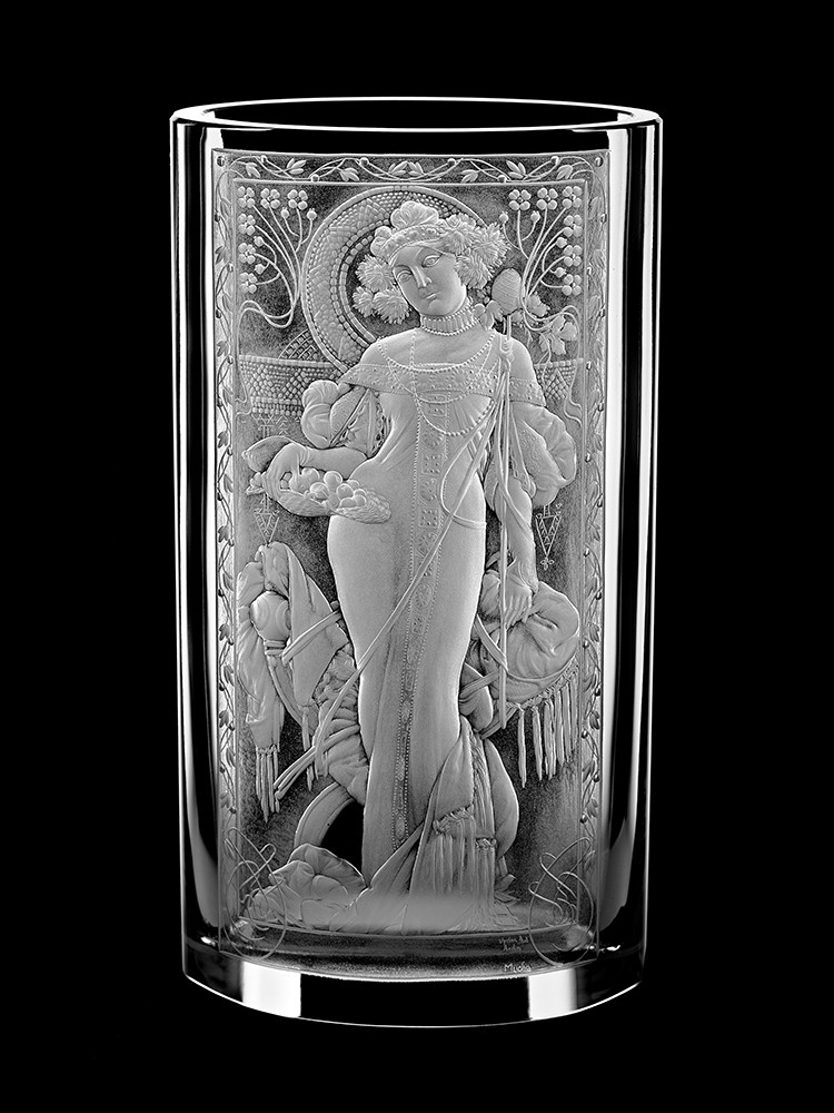 Vase Mucha 25 Cm Aida Hand Made Crystal Czech Republic