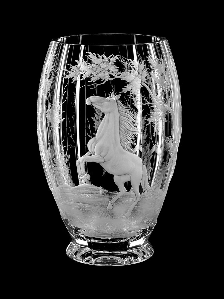 Vase Horse Aida Hand Made Crystal Czech Republic Vases Wine